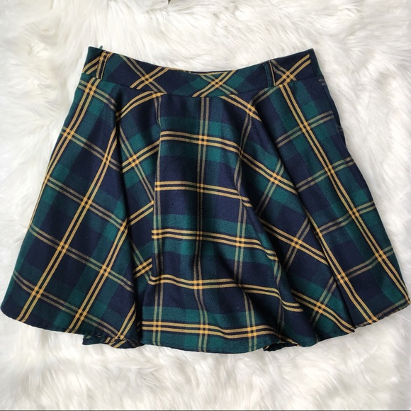 f49aad8f2 Chicwish Skirts | Green Plaid Skater Skirt | Poshmark